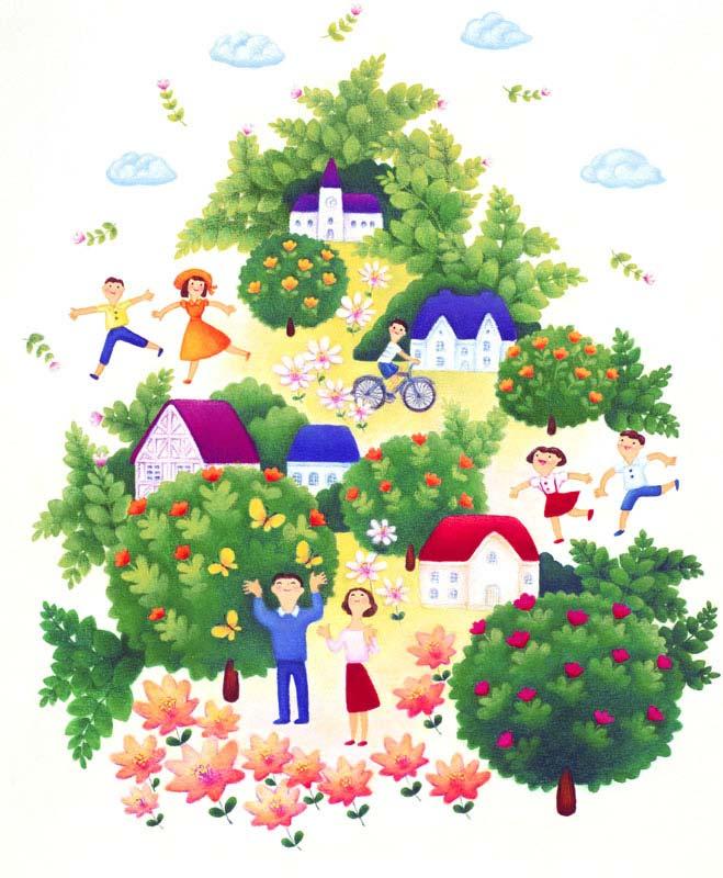 自然豊かな街並みと住民イラスト