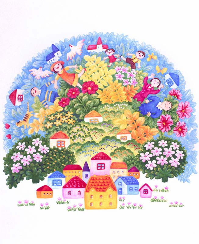 七井直美 カラフルな家々と花と緑の自然が溢れる住まいと暮らしのハッピーイラスト