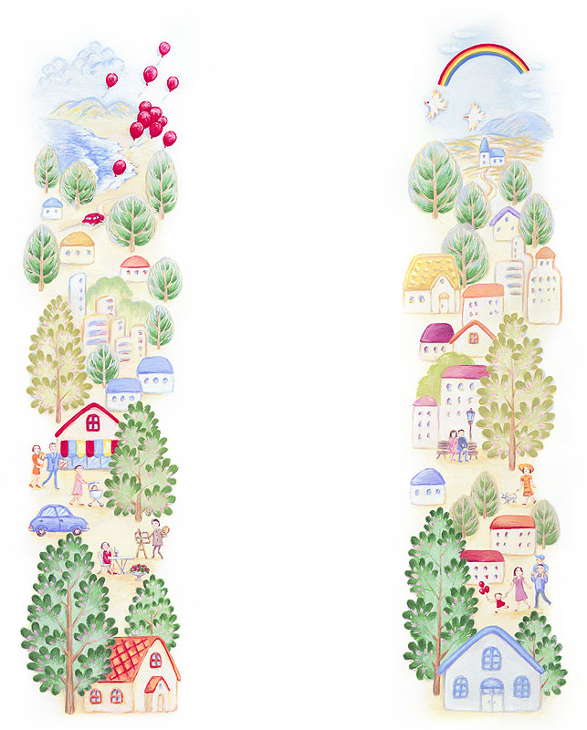 七井直美 緑の木々が溢れる豊かな街並みの縦型フレームイラスト