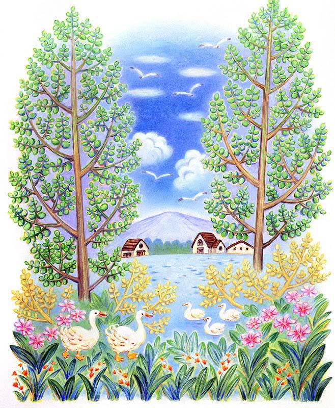 七井直美 緑豊かな自然と湖とアヒル風景イラスト
