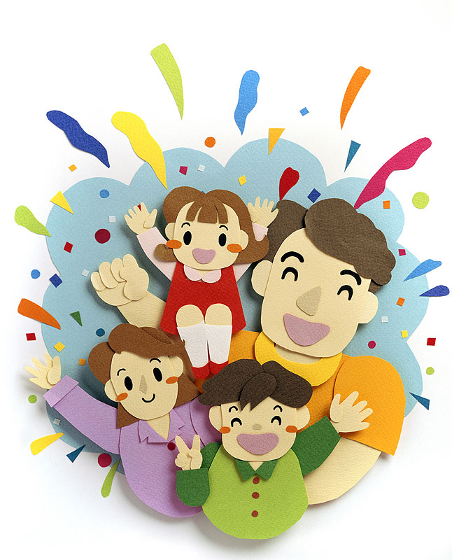 Boy's club 大きなパパと笑顔の家族のファミリーイラスト