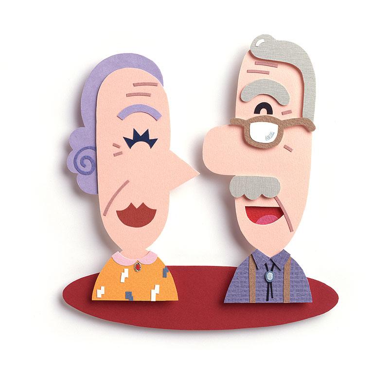 高齢者・シニア・老人イラスト 笑顔の老夫婦
