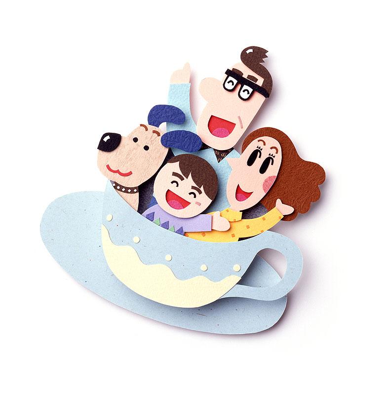 家族イラスト 遊園地コーヒーカップで遊ぶファミリー