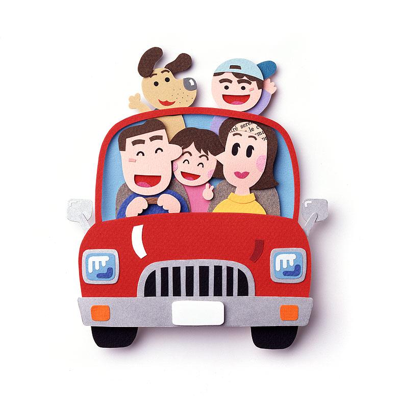 家族イラスト 赤い車でドライブするファミリーと犬