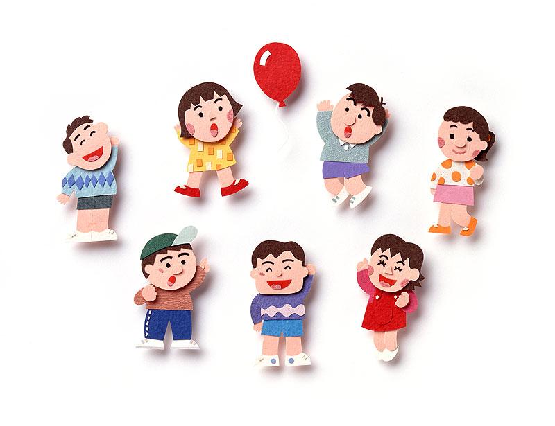 子供イラスト 飛んで行く赤い ... : クラフト 子供 : 子供