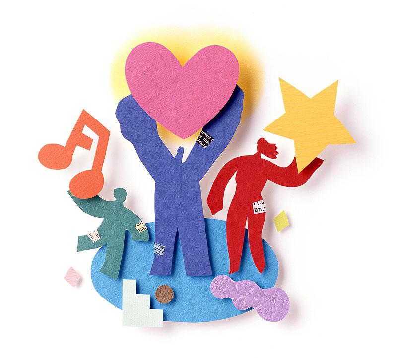 家族・ファミリーイラスト 音符ハート星を持つ3人家族