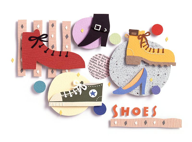 ポップイラスト 革靴、スニーカー、色々な靴