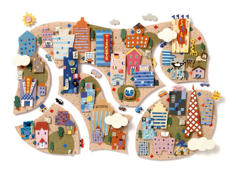 ちずわまさゆき にぎやかな商業都市の街並み風景イラスト