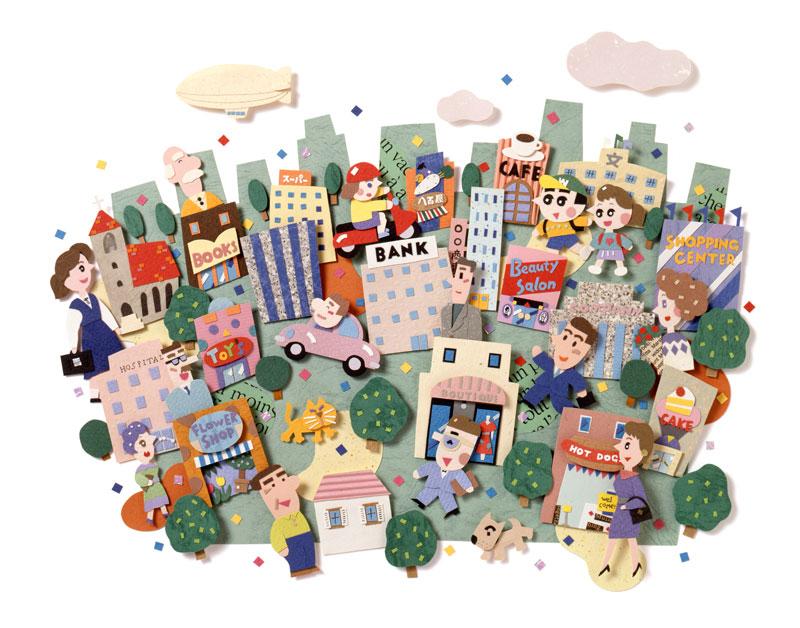 ちずわまさゆき 元気な町並みと人々の暮らし・生活イラスト