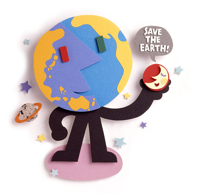 ちずわ まさゆき 宇宙と地球の環境イラスト