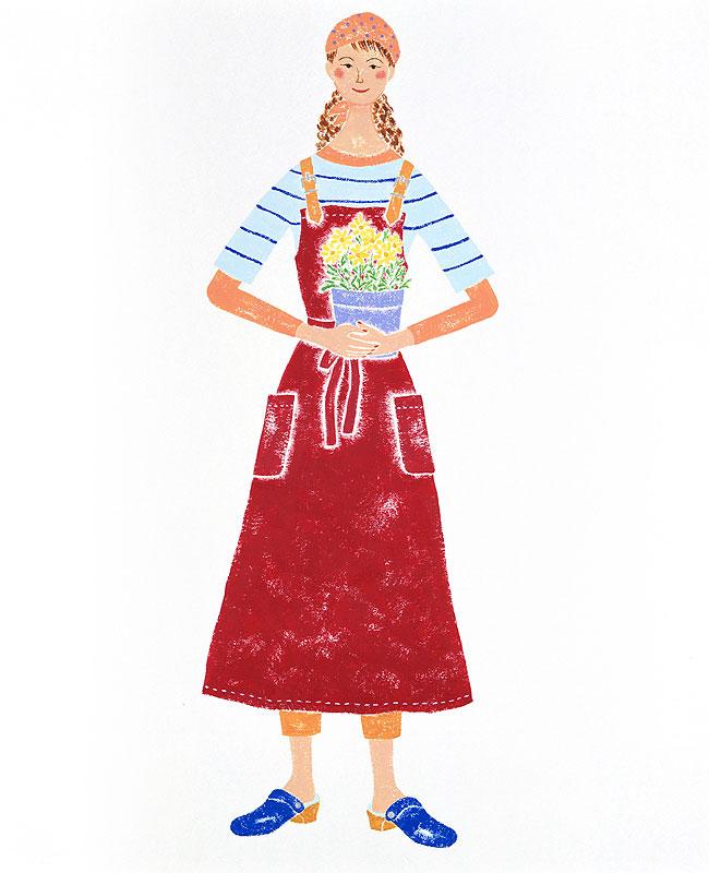 ガーデニング女性イラスト 植木鉢を持つ園芸好きの女性