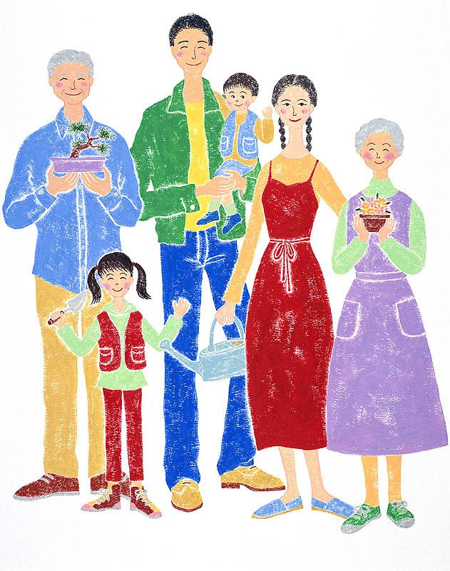 ファミリーイラスト ガ-デニングが好きな3世帯の6人家族