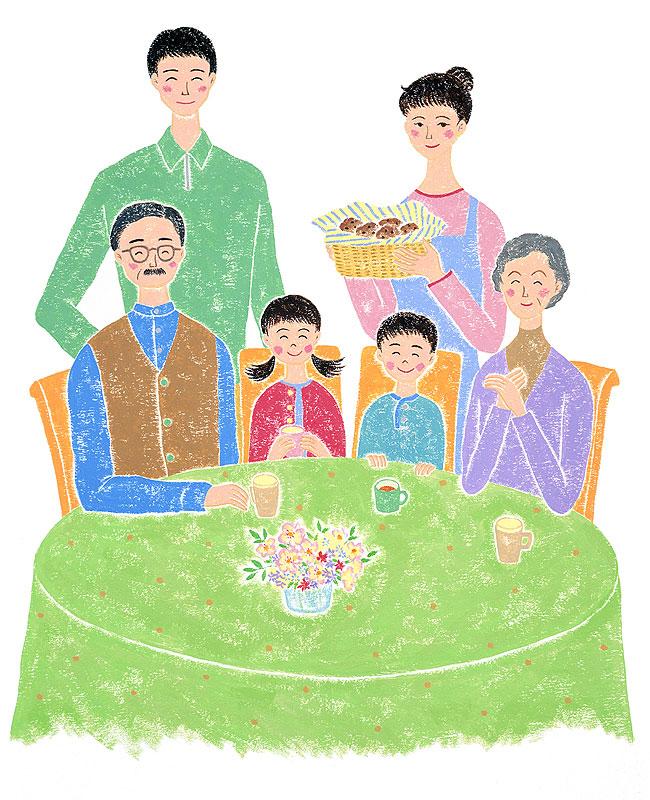 ちゅうまんたみこ テーブルを囲む家族と午後のひとときイラスト 子ども・家族・ファミリーイラスト