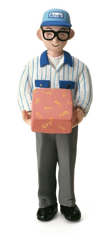 宅配便イラスト 荷物を届ける笑顔の配達員