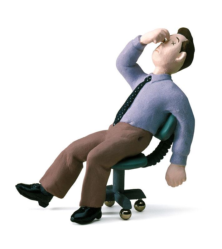 眼精疲労・疲れ目イラスト パソコン作業で眼精疲労・体調不良の会社員