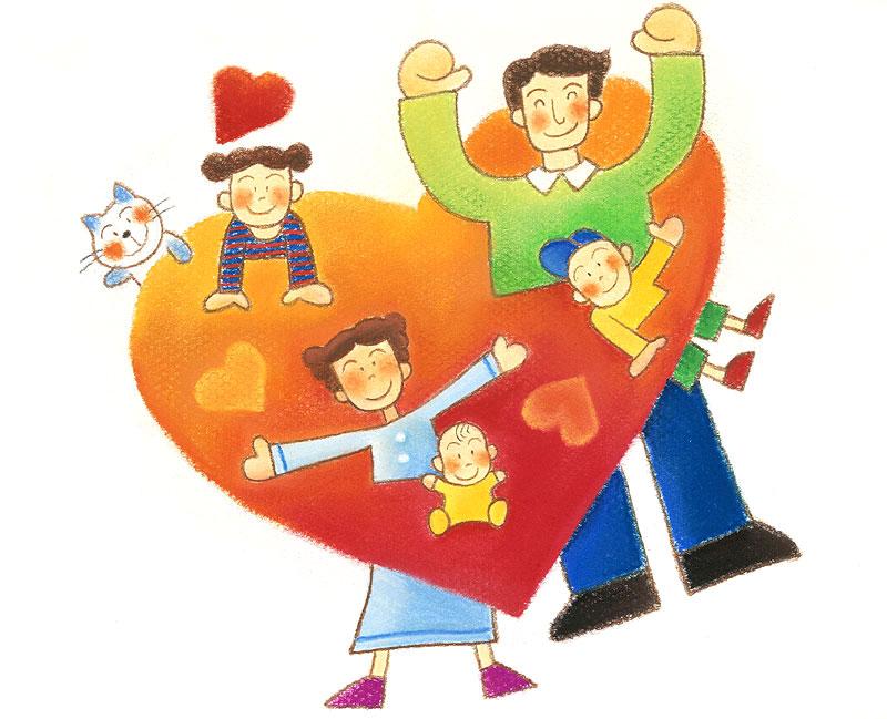 5*SEASON 大きなハートの家族愛で幸せファミリーイラスト