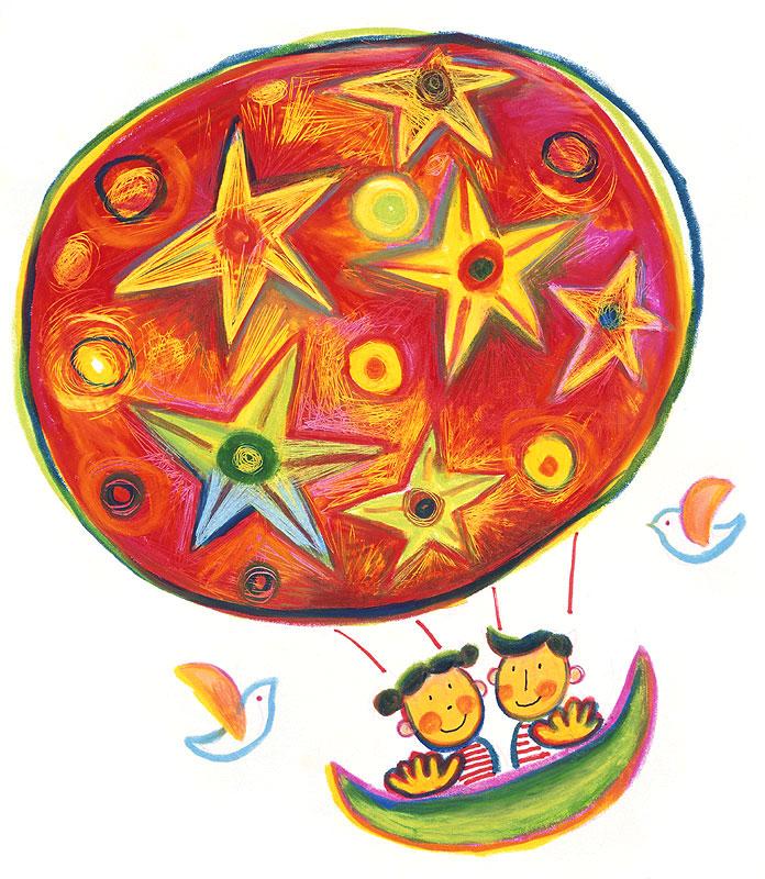 人物イラスト 星々をあしらった気球に乗った男の子と女の子