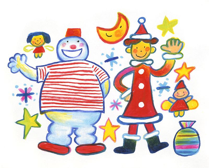 5*SEASON クリスマスのスノーマンとサンタクロースの女の子のカラフルイラスト