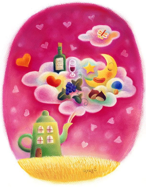 5*SEASON ハート飛ぶピンクの空にゆらめく雲とポットハウスの秋のファンタジーイラスト