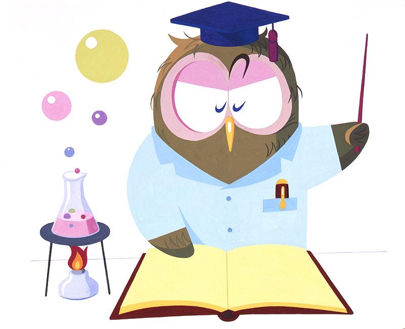 動物キャラクターイラスト フラスコで実験して教えるフクロウ博士