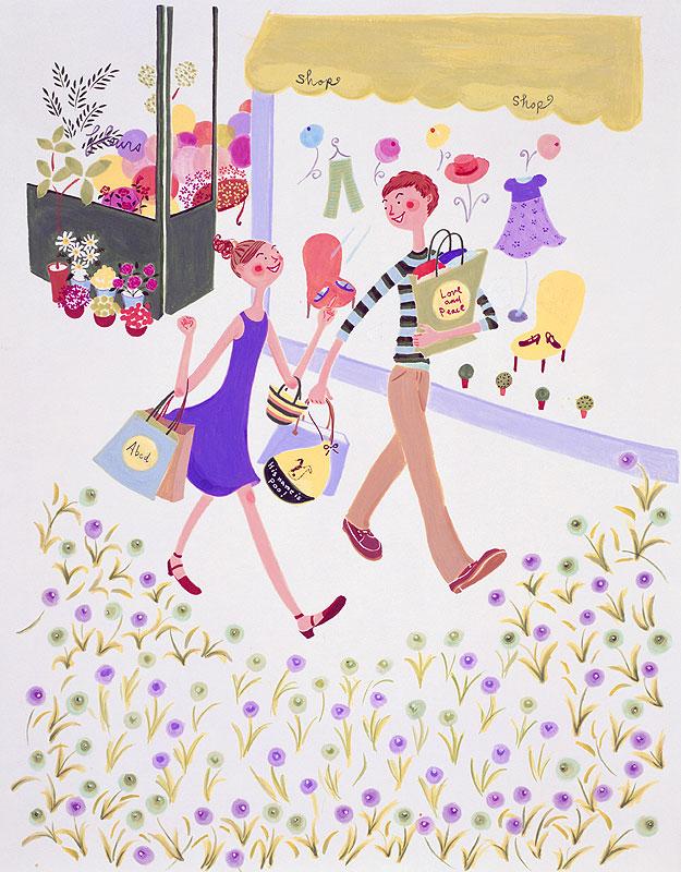 藤田ヒロコ 繁華街をショッピングデートする男女カップルイラスト