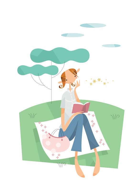 福永洋一 春の芝生で本を読む女性イラスト