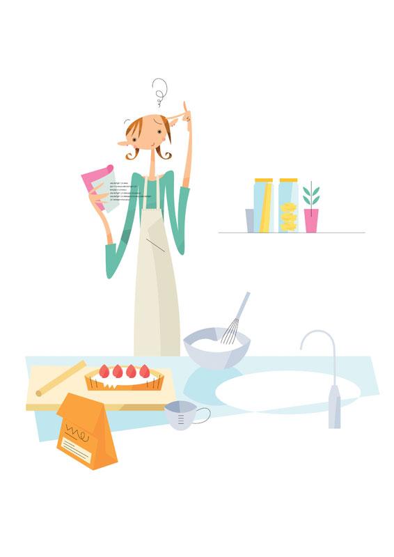福永洋一 レシピでお菓子スィーツづくりの女性イラスト
