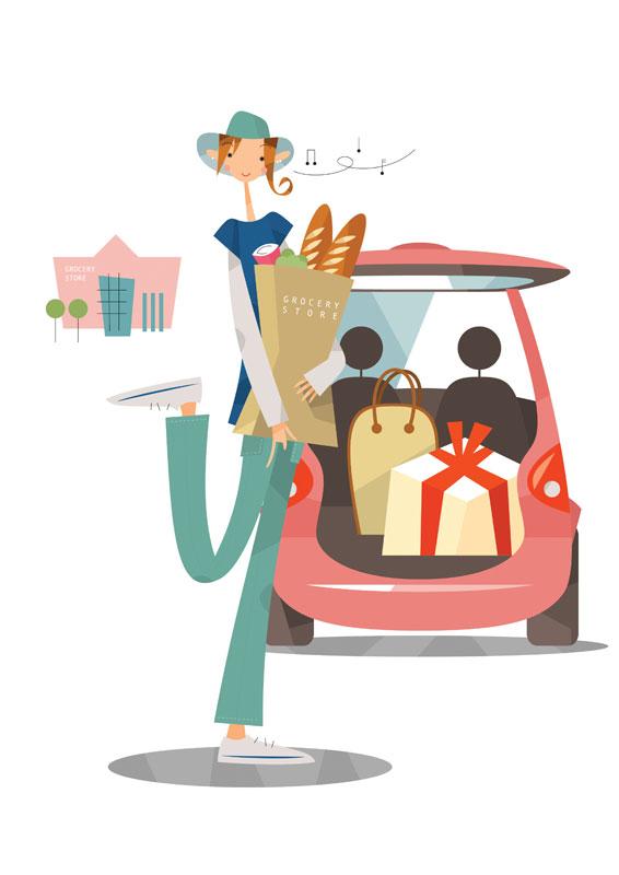 買い物する女性イラスト ショッピングモールに車で買い物