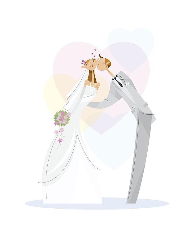 新郎新婦イラスト 結婚式で誓いのキス