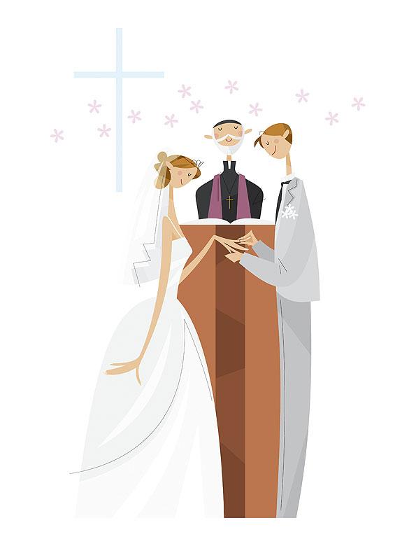 福永洋一 教会で永遠の愛を近い指輪を交換する新郎新婦の結婚式イラスト 結婚・ブライダル・ウェディングイラスト
