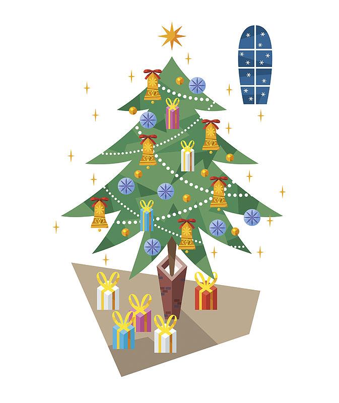 福永洋一 クリスマスツリーがキラキラ輝くクリスマスナイトイラスト