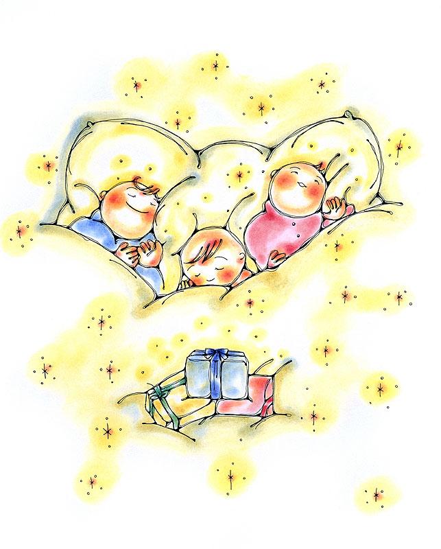 古川なおみ ふわふわ布団で眠る子どもたちとプレゼントイラスト