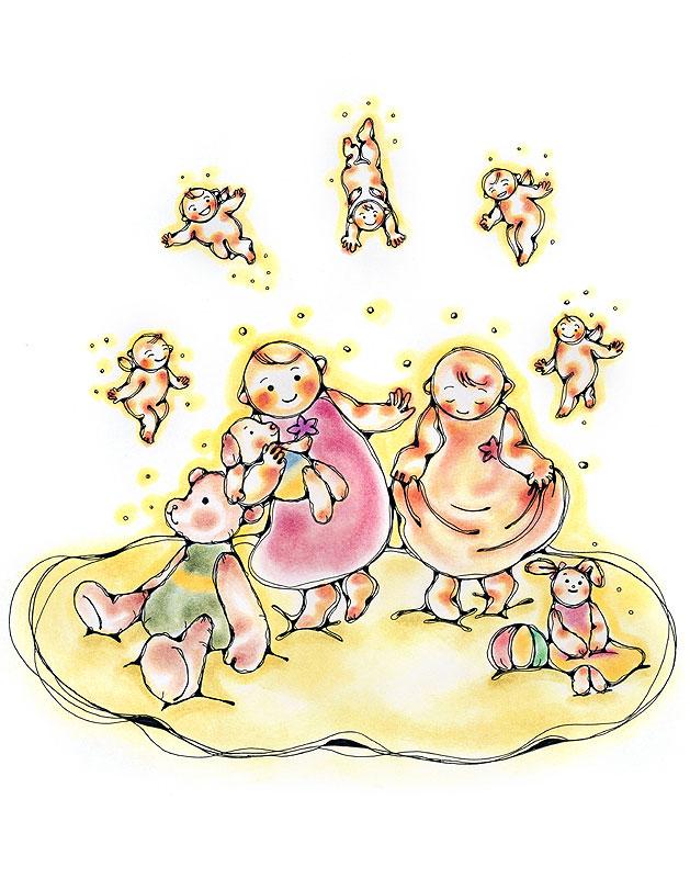 古川なおみ ぬいぐるみで遊ぶ子どもたちと天使のイラスト