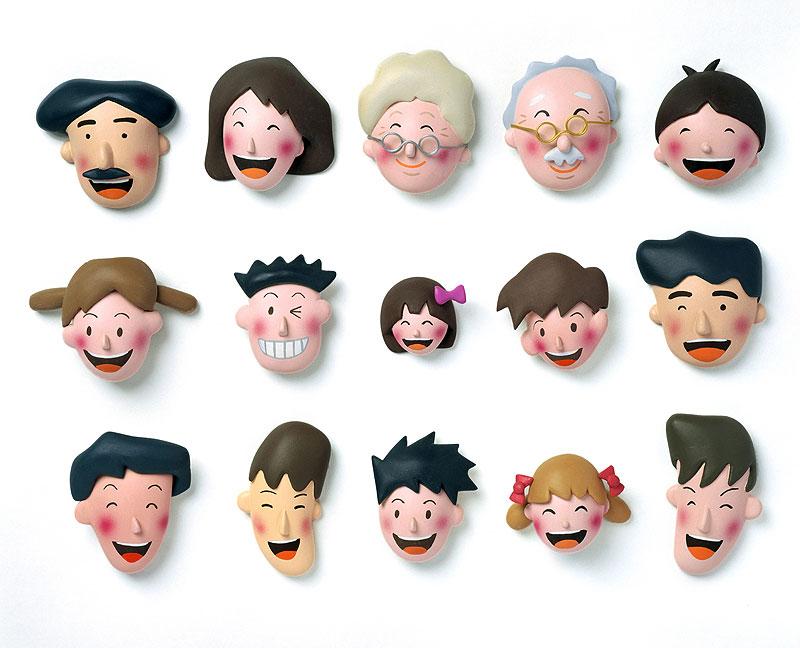 後藤樹史 老若男女の笑顔がいっぱいの顔イラスト