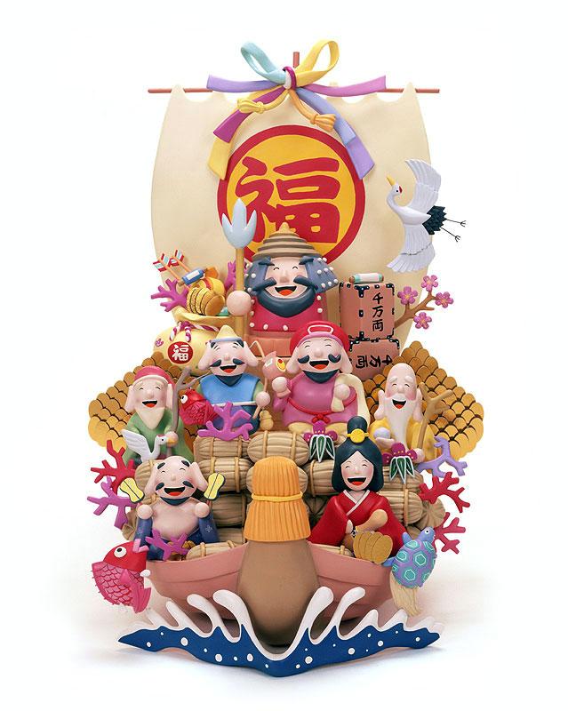 後藤樹史 福がいっぱい宝船に乗った七福神イラスト