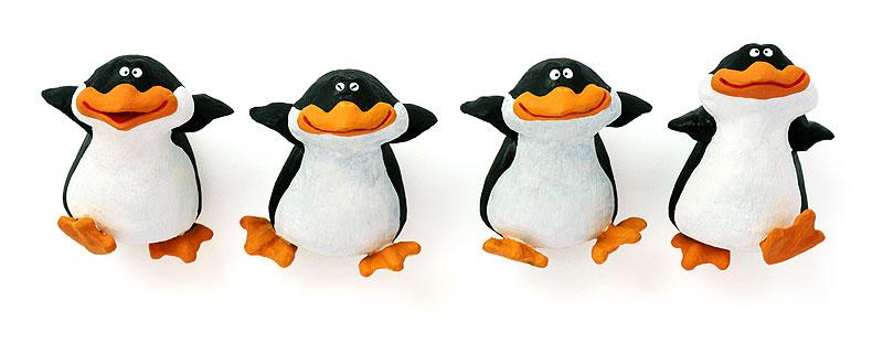 播和比古 横に並んでよちよち歩くペンギンの散歩イラスト