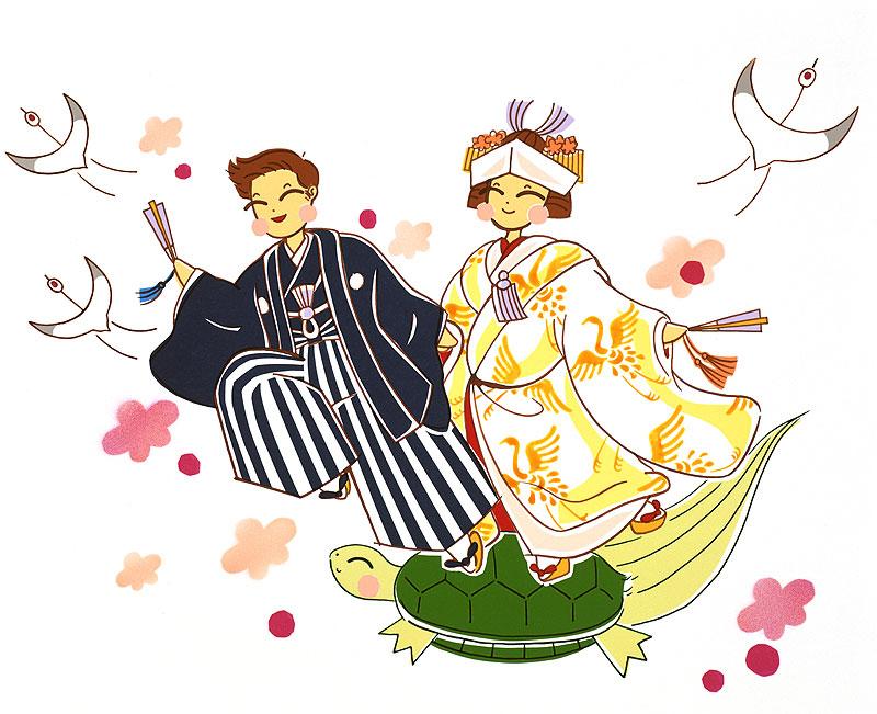 長谷川彩美 鶴亀梅の花で日本テイスト、和装ウエディング結婚式の男女イラスト