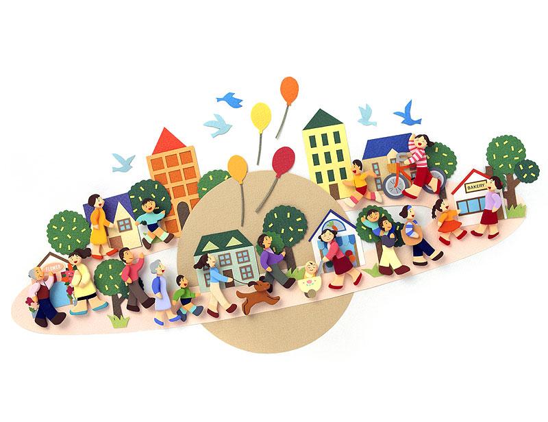 群衆・行列イラスト 地域社会の回りを歩く色々な人々   群衆・行列イラスト 地域社会の回りを歩く