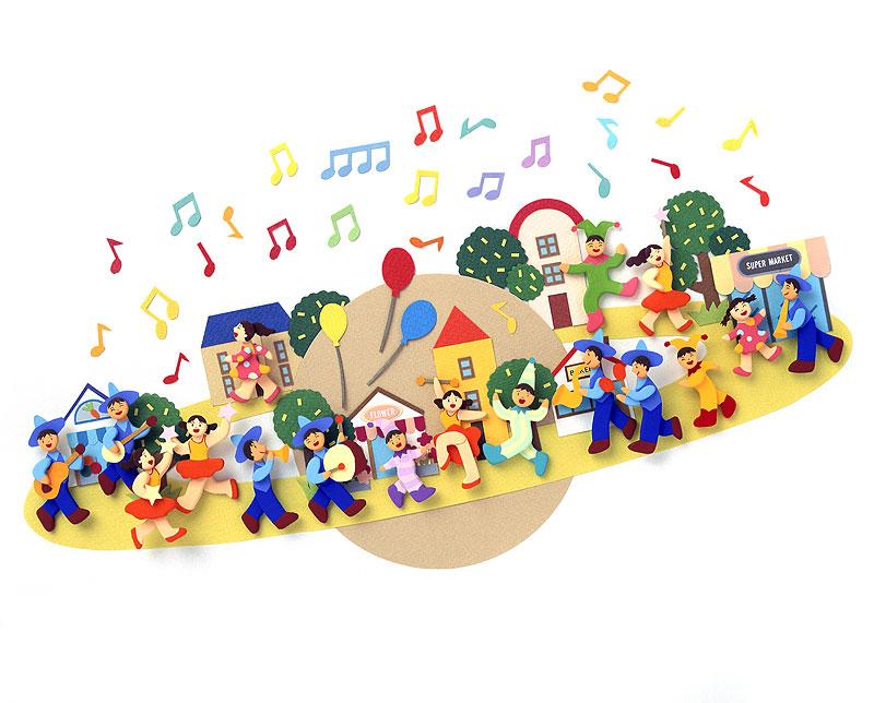 秦紀子 丸く輪になった町で演奏パレードイラスト