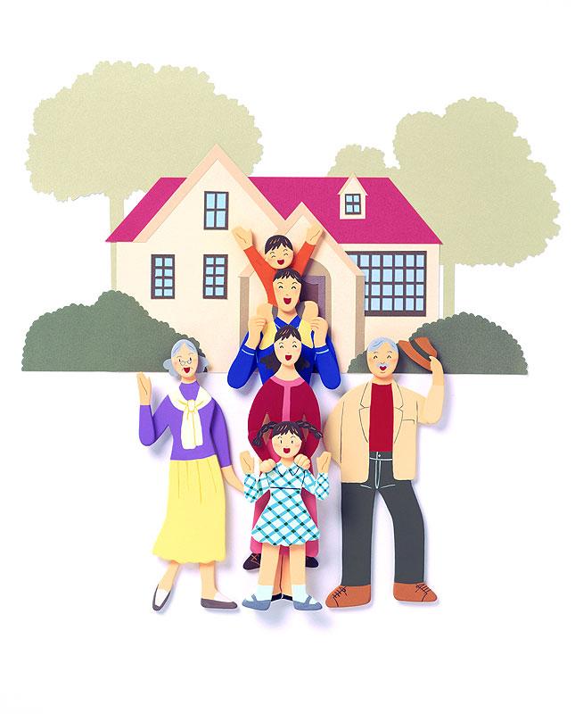 秦紀子さん 大好きなおじいちゃんとおばあちゃん、山の大きな家イラスト