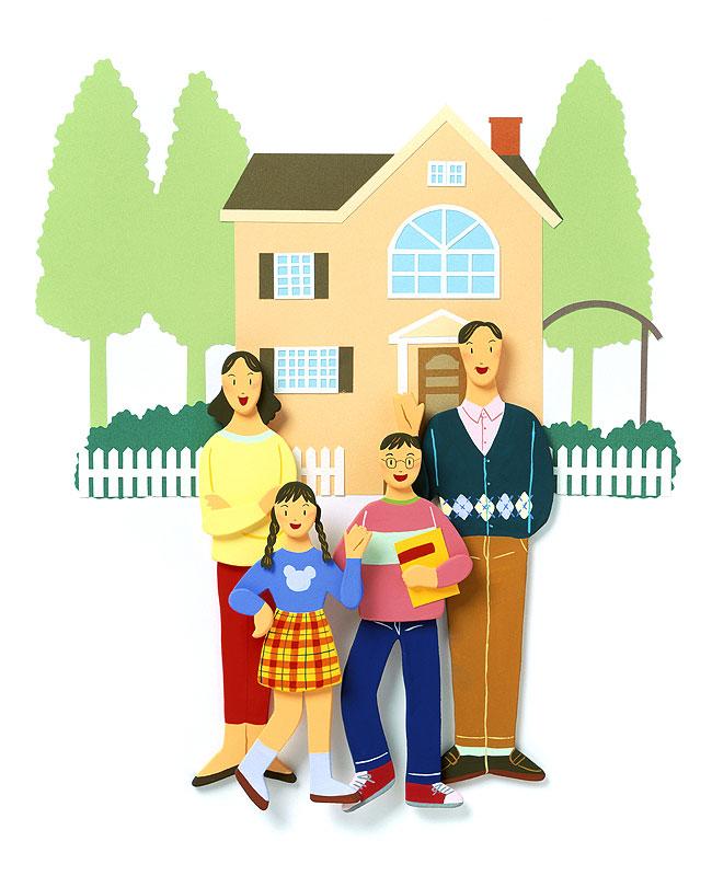 秦紀子 自慢の我が家にようこそ!家族の肖像イラスト