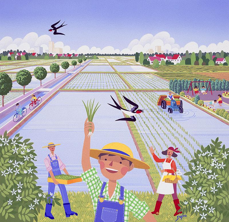 日向山寿十郎 農業イラスト 郊外の田んぼで田植えする家族