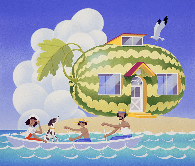 夏の海でボートを漕ぐ家族と砂浜のスイカハウス