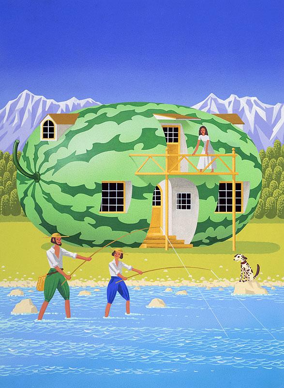 日向山寿十郎 夏のスイカハウスと山の河原で釣りをする父子イラスト