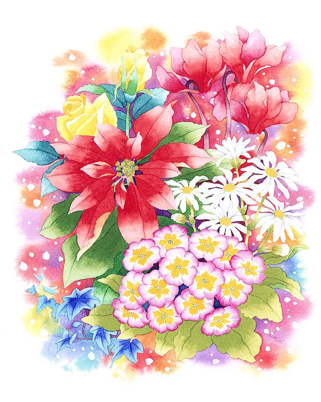 冬の花イラスト ポインセチア・シクラメンなど冬のブーケ花束