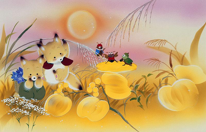 折り紙 折り紙 鯉のぼり : 動物イラスト 秋の野原の月 ...
