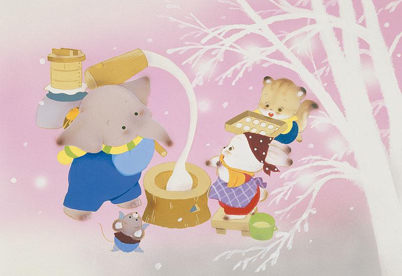 いがわひろこ 動物キャラクターの餅つきイラスト