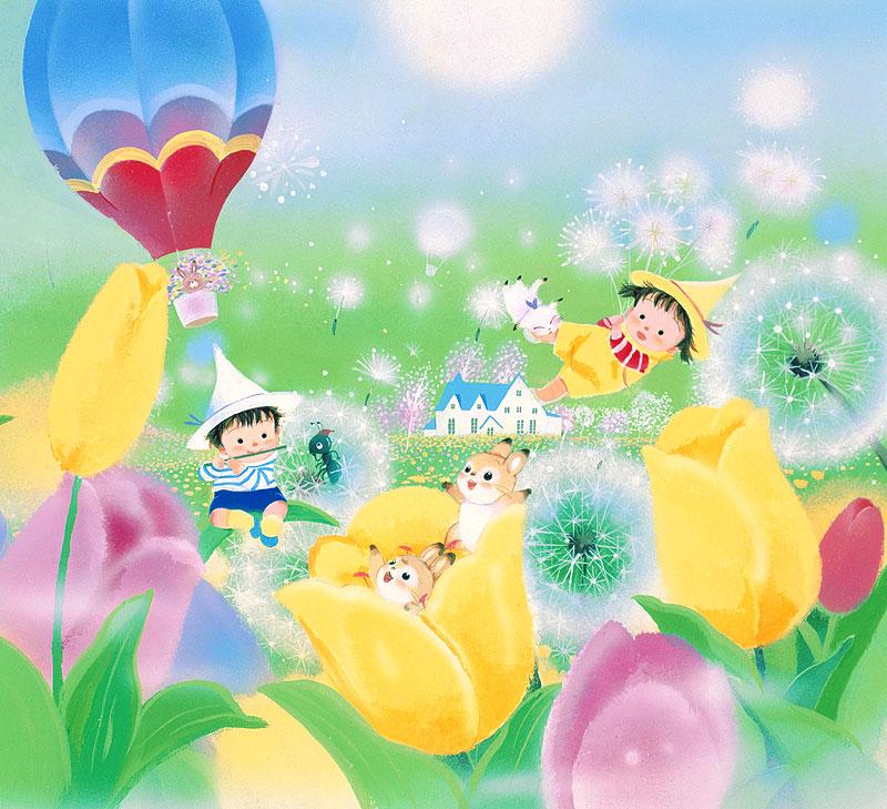 いがわひろこ 春満開のチューリップとたんぽぽの綿毛の中で遊ぶ妖精小人と動物キャラクターイラスト