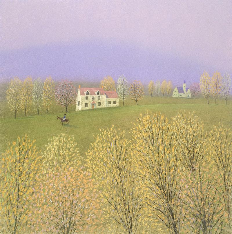 風景イラスト 秋の丘乗馬を ... : カレンダーバンク : カレンダー