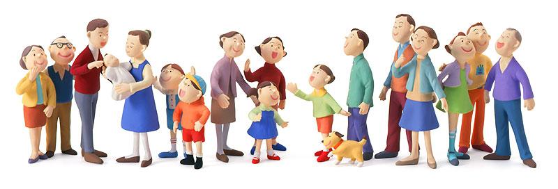 人々のフレームイラスト 赤ちゃん子供若者大人老人の集合